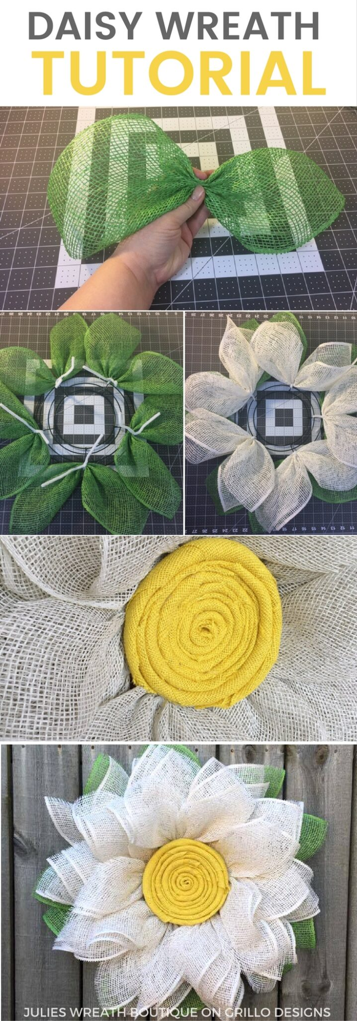 Diy Spring Burlap Daisy Wreath Tutorial Grillo Designs