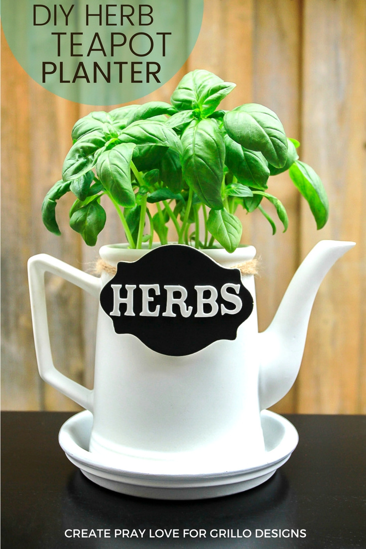 Great tutorial on how to create a stylish teapot planter / create pray love for www.grillo-designs.com