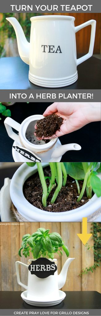 Make a repurposed teapot planter for your home in five easy steps! This tutorial includes everything you'll need to get and steps you'll need to follow / create pray love for www.grillo-designs.com