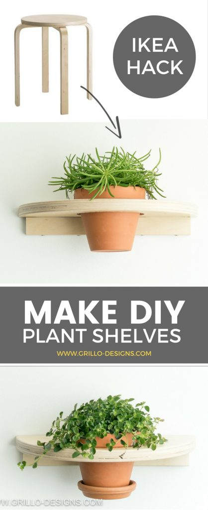 Make a DIY planter shelf from the well known FROSTA stool. If you enjoy finding fun ways to display your plants, you'll love this IKEA FROSTA hack! / Grillo Designs www.grillo-designs.com