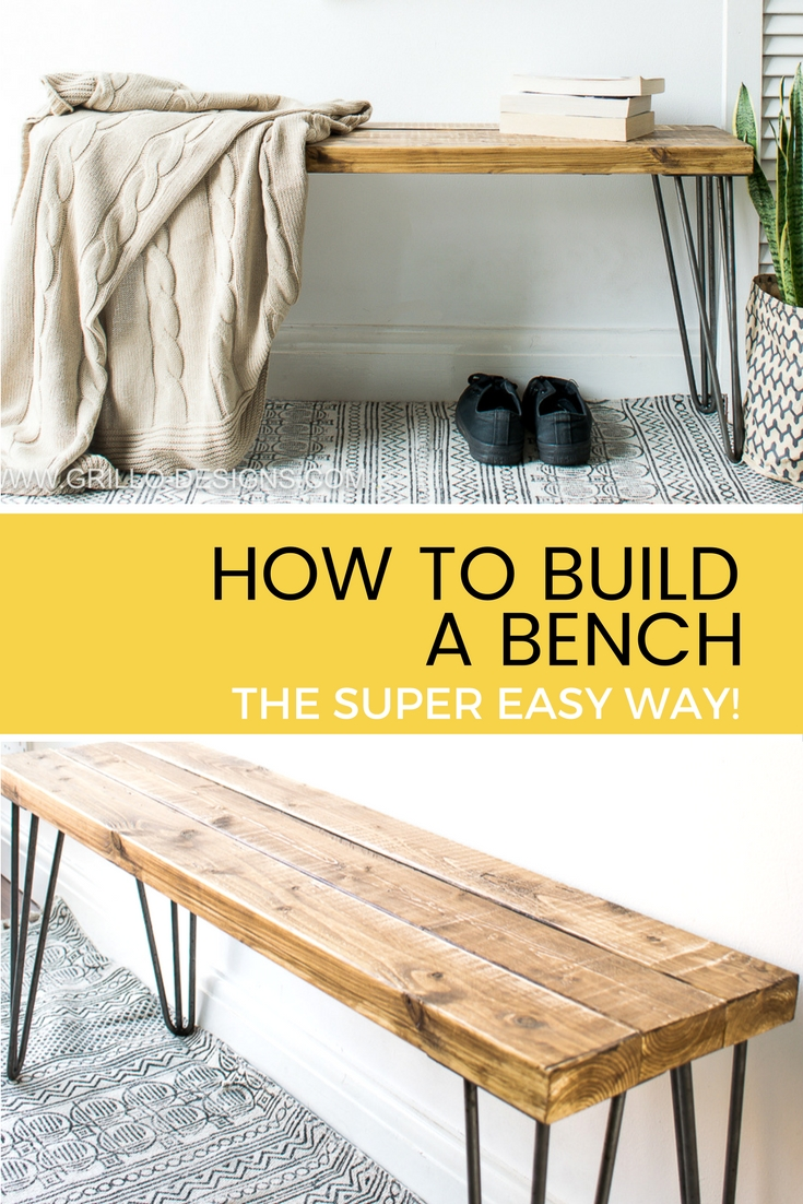 Learn how to build a bench for your home. Using 2 x 4 wood and hairpin legs. Easy bench plans included / Grillo Designs www.grillo-designs.com