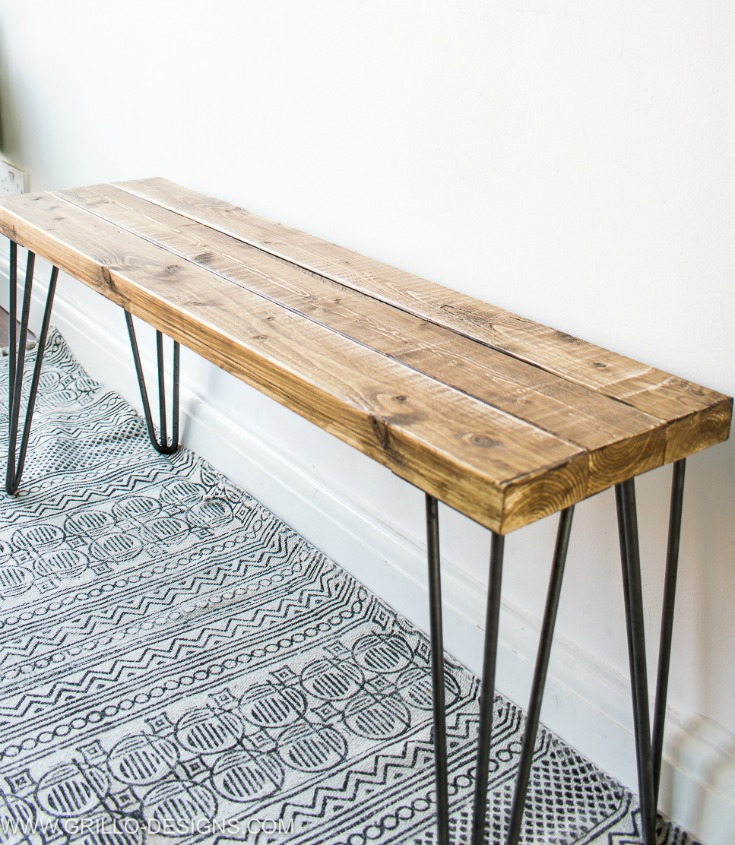 Side Angle Of Hairpin Legs Bench Grillo Designs Www