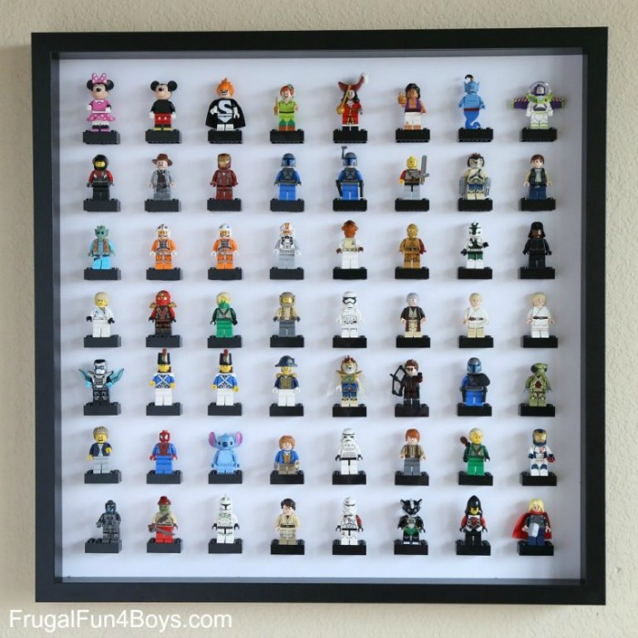 IKEA toy storage hacks for the bedroom - Use the IKEA RIBBA picture frame to display lego men via Frugal Fun for Boys and Girls / www.grillo-designs.com