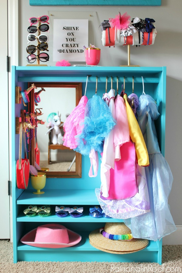 IKEA TOY STORAGE HACKS - IKEA BILLY BOOKCASE INTO A DRESS UP STATION VIA RAIN ON A TIN ROOF / WWW.GRILLO-DESIGNS.COM
