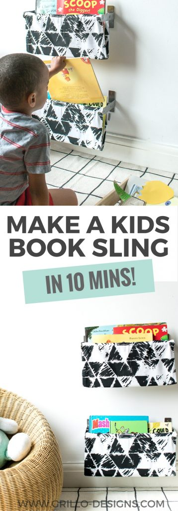 This might just be the easiest DIY book sling tutorial you'll ever read. Go grab an IKEA towel rail and an old pillow case, and lets create some kids shelves / Grillo designs www.grillo-designs.com