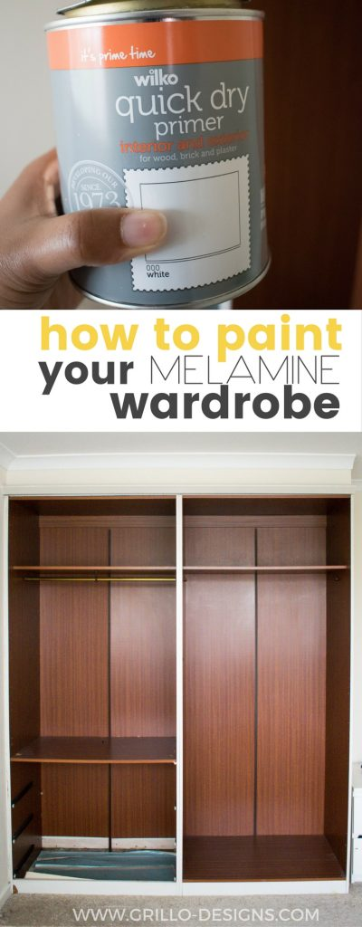 Learn how to paint melamine wood - and turn any outdated piece of furniture from drab to fab!  Melamine paint not necessary / Grillo Designs www.grillo-designs.com
