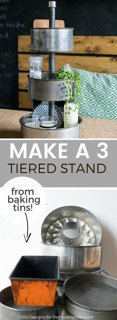 Learn how to make a diy three tiered stand from vintage baking tins.Great for organising craft supplies and decorating / Grillo Designs www.grillo-designs.com
