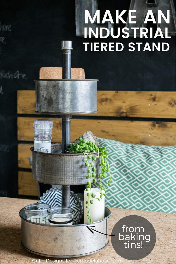 Learn how to make a DIY three tiered stand from upcycled baking tins / Grillo designs www.grillo-designs.com
