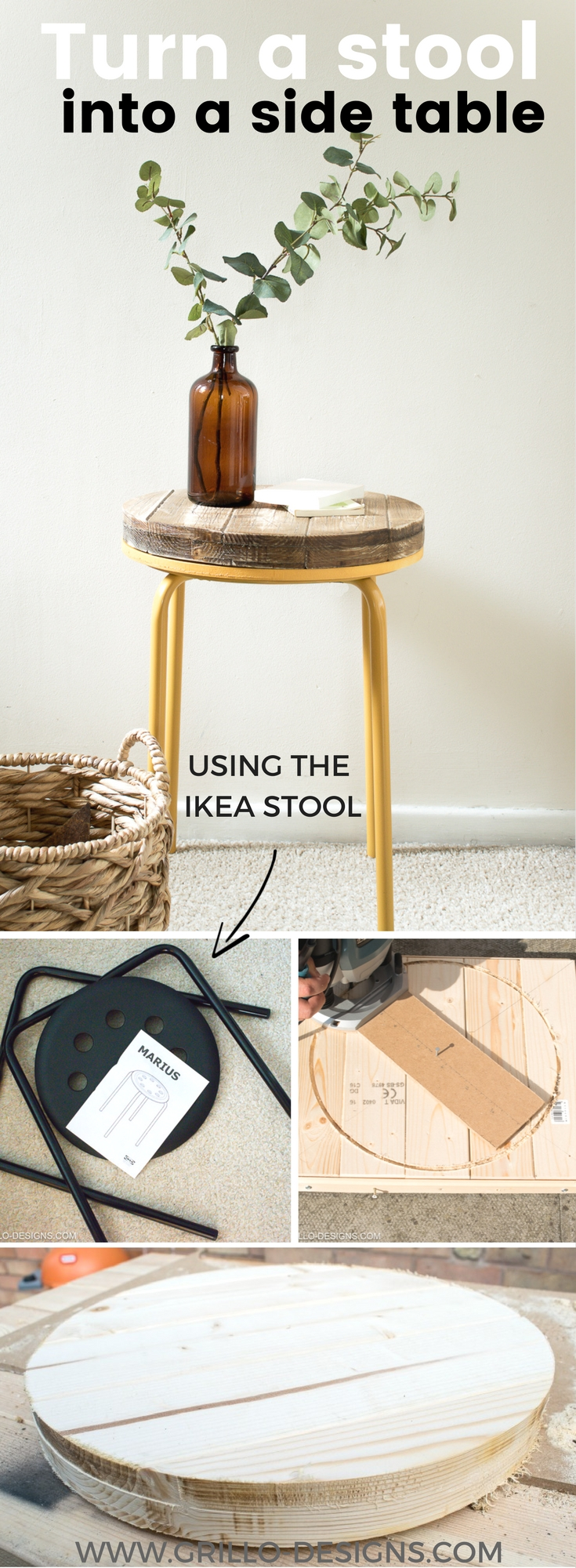 Diy Industrial Side Table Project Grillo Designs