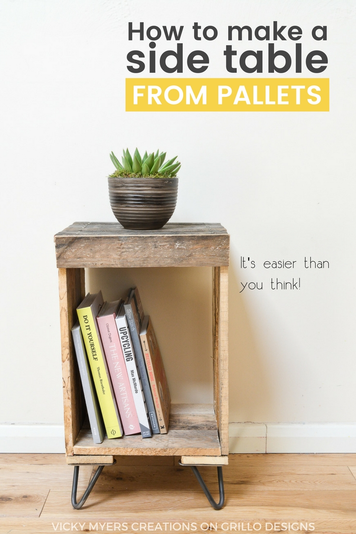 DIY Pallet side table - easy instructions on how to create a rustic wooden pallet side table from recycled pallets. Can be used as a nightstand or end table / Vicky Myers Creation on Grillo Designs Blog