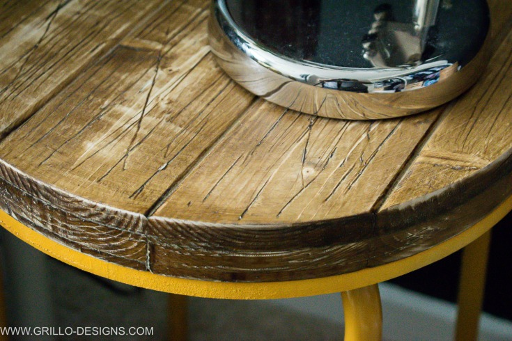 Stained wooden table top industrial side table / Grillo Designs www.grillo-designs.com