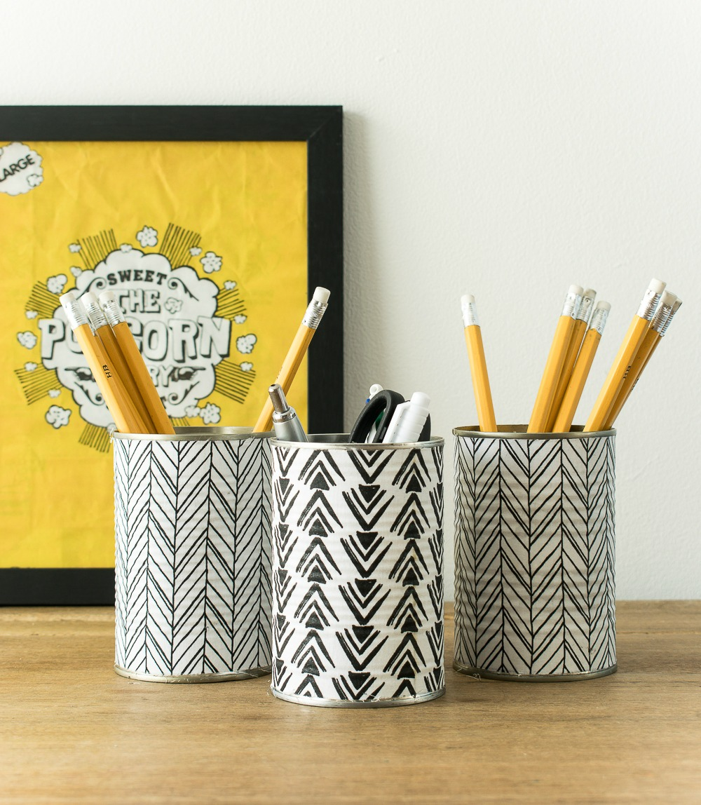 Stylish scandi style monochrome pencil holder from recycled tin cans/ Grillo Designs www.grillo-designs.com