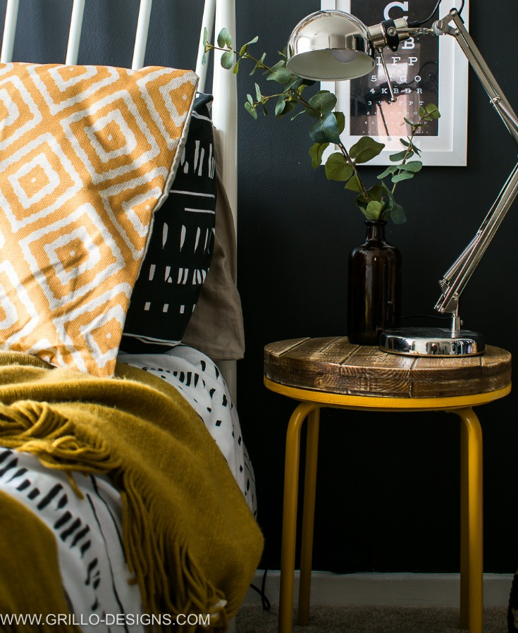 Mustard yellow industrial side table in the bedroom / grillo designs www.grillo-designs.com