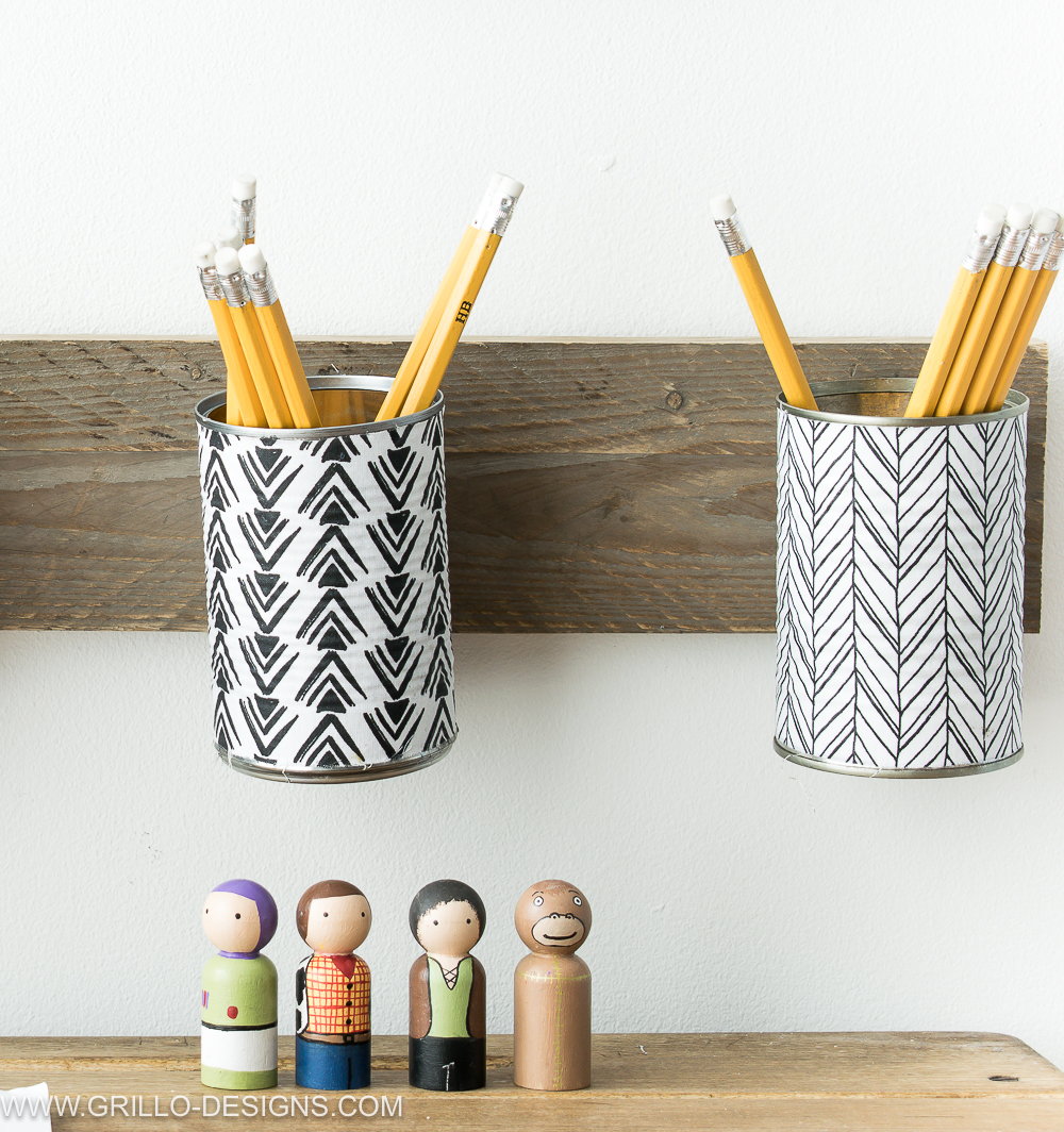 How to make a pencil holder from empty tin cans grillo Diy pencil holder for desk