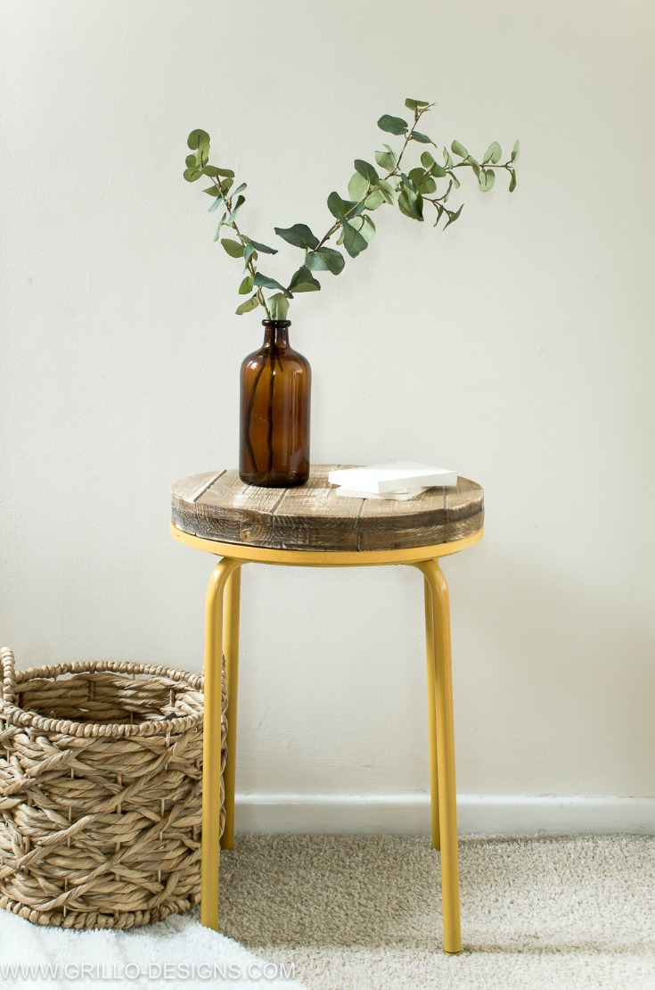 Industrial side table made from the IKEA MARIUS stool / Grillo Designs www.grillo-designs.com