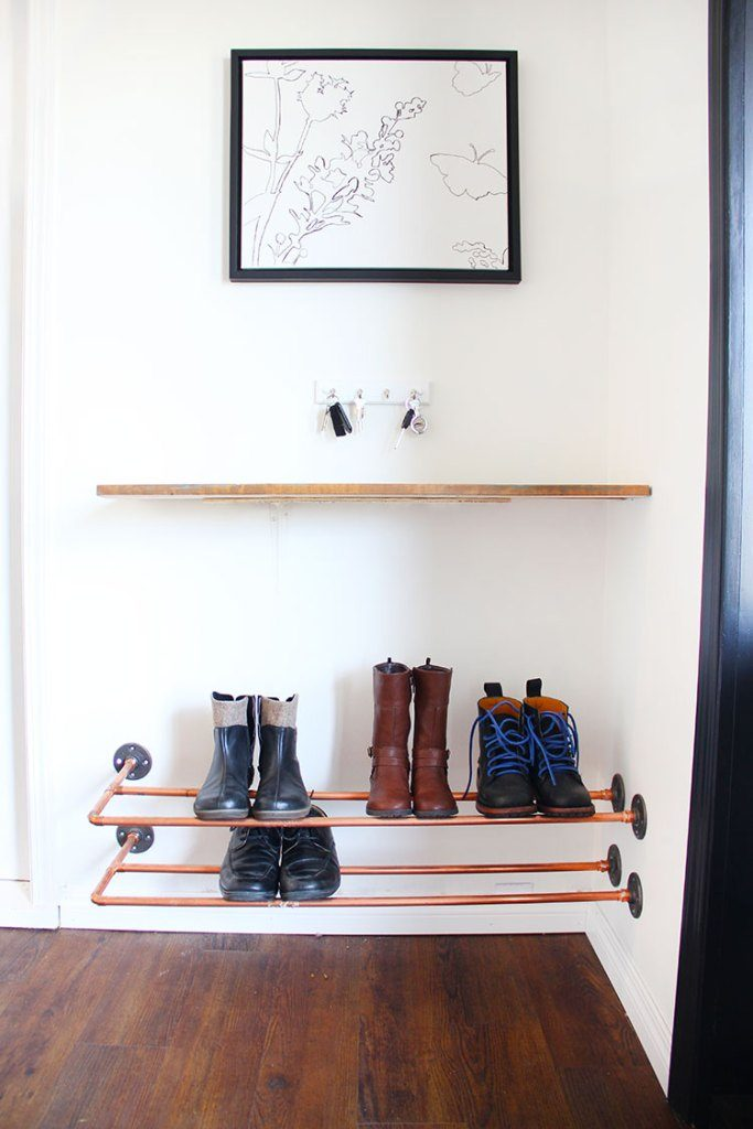15 clever diy shoe storage ideas grillo designs diy shoes storage idea from copper pipes grillo designs grillo designs solutioingenieria Image collections