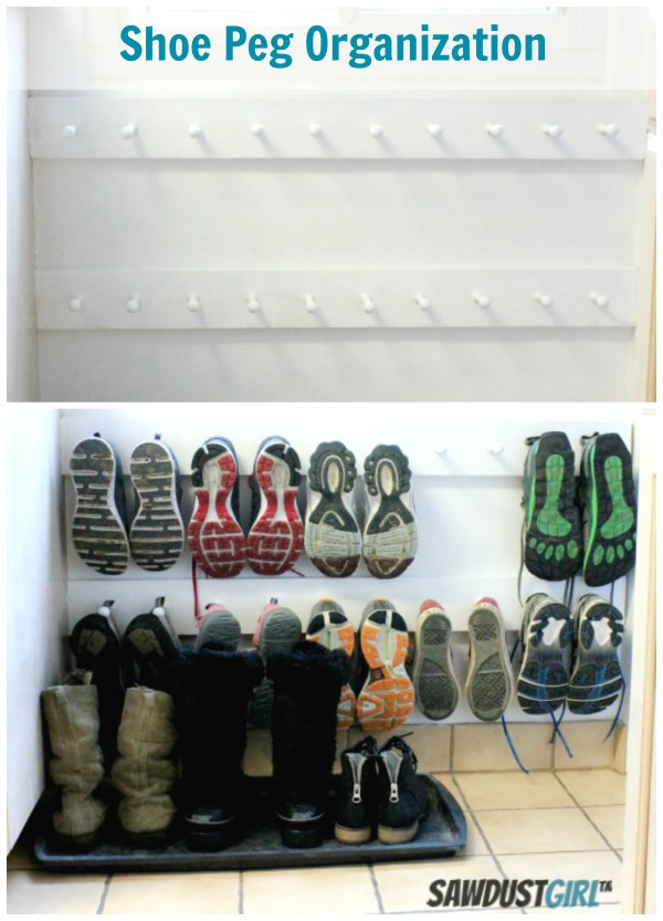 DIY SHOES STORAGE SOLUTION USING A PEG HOOK / Grillo Designs www.grillo-designs.com