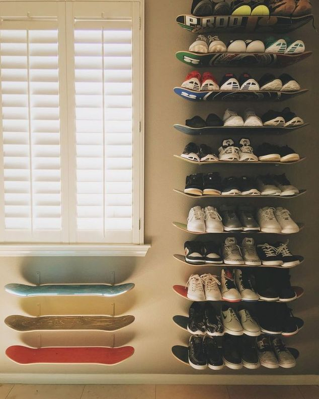 15 clever diy shoe storage ideas grillo designs make diy skateboard shelves for shoe storage grillo designs grillo designs solutioingenieria Choice Image