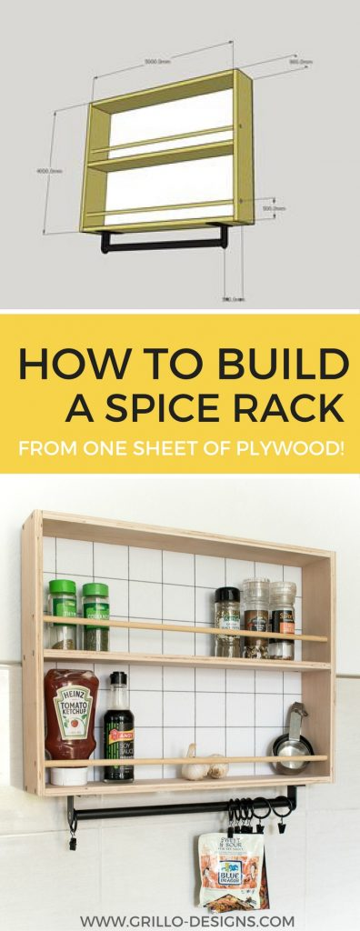 DIY hanging spice rack tutorial - Learn how to build a wooden spice rack for your wall from plywood / Grillo Designs www.grillo-designs.com