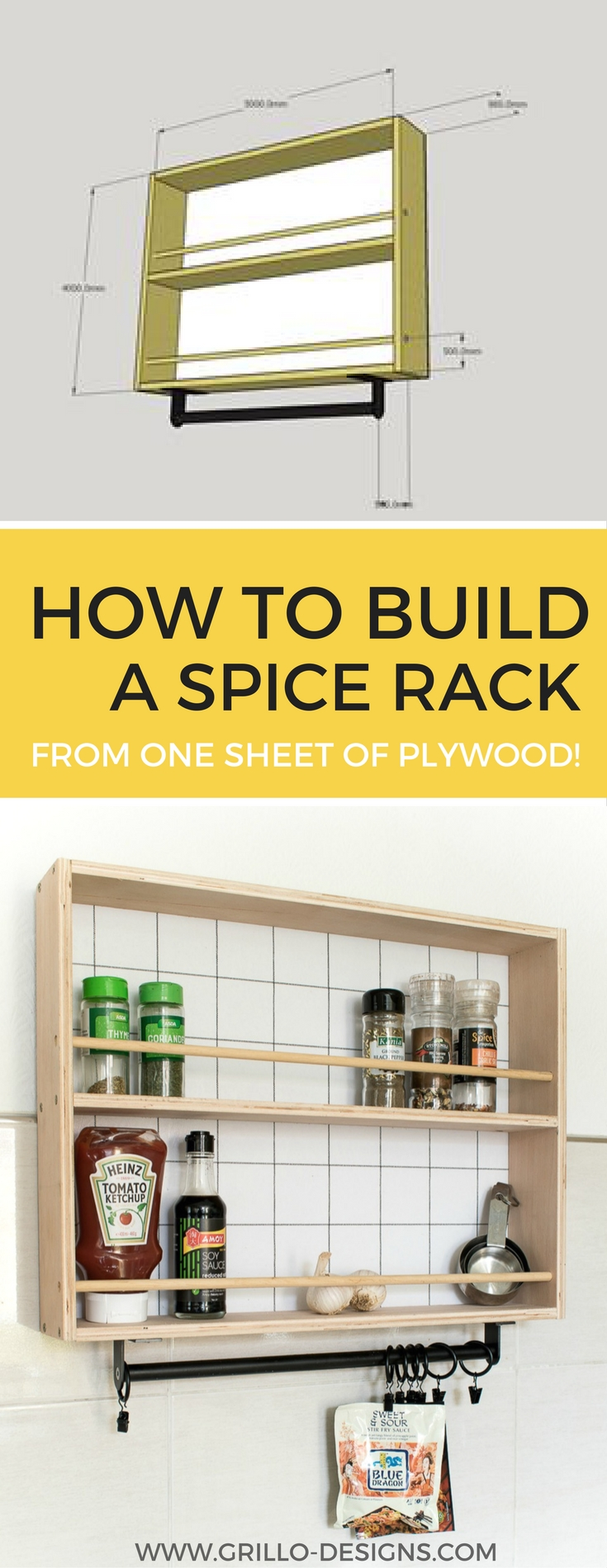 How to Build a Hanging Spice Rack ( and a RYOBI giveaway!) • Grillo Designs
