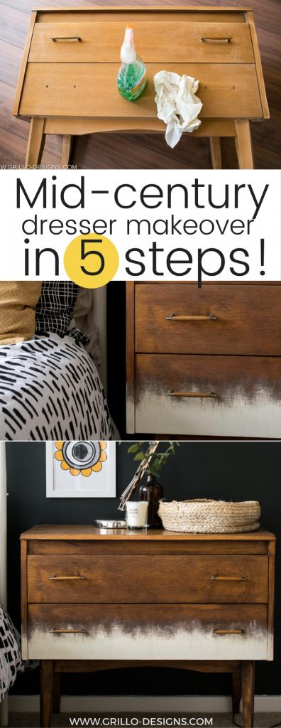 Modern scandi style mid century dresser makeover 'tutorial' sharing the 5 basic steps on how to refinish, restore and upcycle vintage furniture / Grillo Designs www.grillo-designs.com