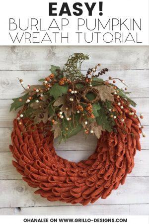 Fall Burlap Pumpkin Wreath DIY tutorial / Grillo Designs