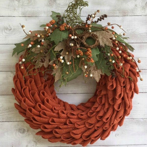 Fall Burlap Pumpkin Wreath DIY tutorial Pinterest Grillo Designs