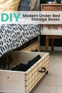 Small bedroom makeover diy project : under bed storage boxes for small spaces / grillo designs www.grillo-designs.com
