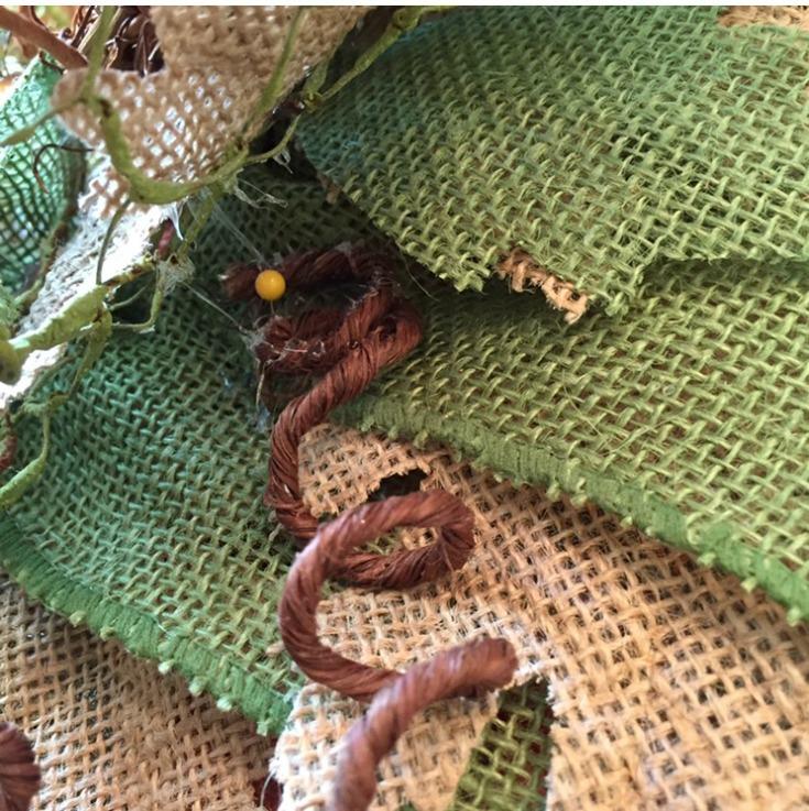 Attach fall embellishments to your burlap pumpkin wreath/ Grillo Designs www.grillo-designs.com