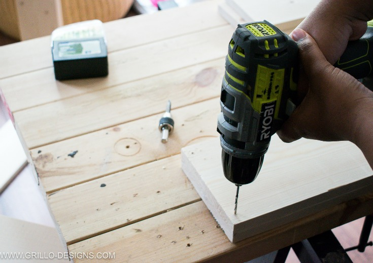 Pre drill holes to make a rolling diy under bed storage box / Grillo Designs www.grillo-designs.com