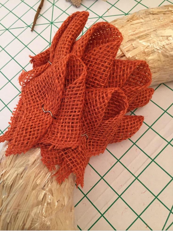 Pin your burlap petals to make a burlap pumpkin wreath / Grillo Designs www.grillo-designs.com