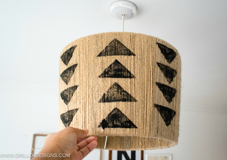 pendant diy jute lampshade with tribal stamping / Grillo Designs
