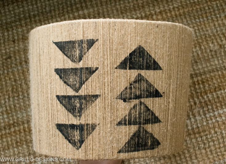 Tribal triangle stamp pattern on the diy jute lampshade / Grillo Designs