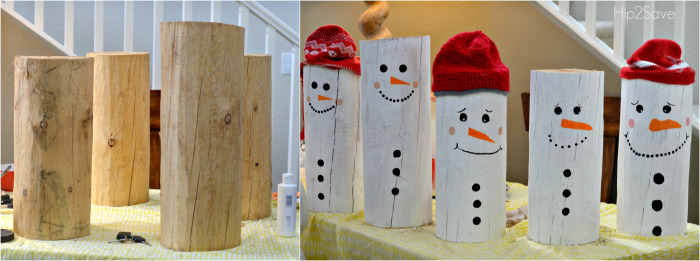 DIY Painted Snowman Logs / DIY Snowman Decorations / Grillo Designs www.grillo-designs.com