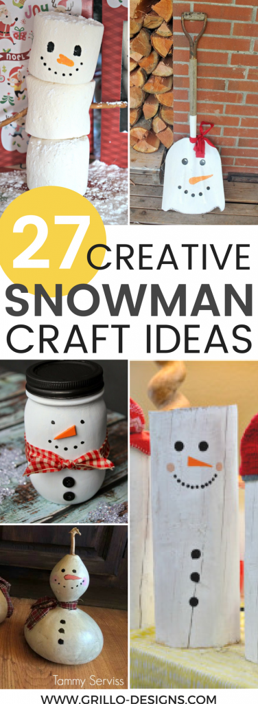DIY snowman decorations are not only fun to make, but they are also an easy way to brighten up your house during a cold wintry month! / GRILLO DESIGNS