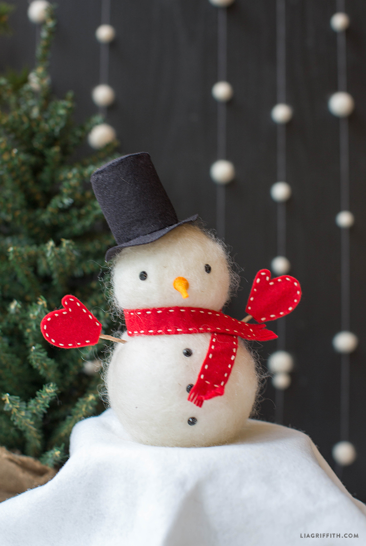 Felted Wool Foam Snowman Tutorial