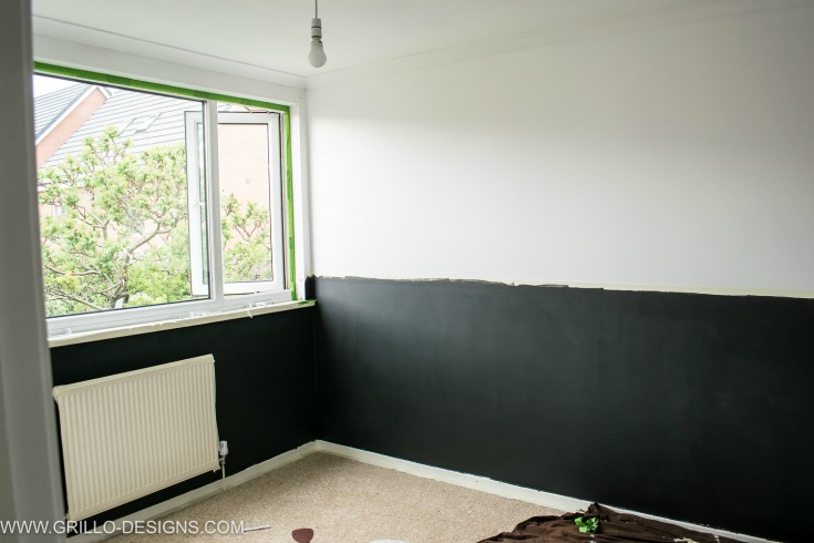 Picture of small bedroom before makeover and painted in valspar coal tipple / Grillo Designs www.grillo-designs.com