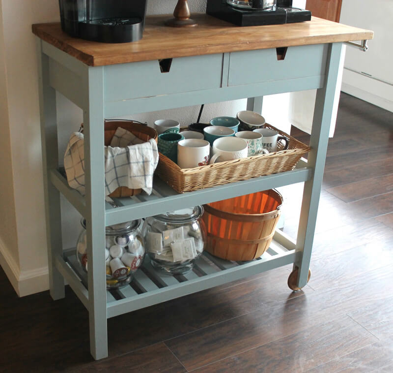18 simple ikea kitchen hacks grillo designs for Coffee cart design