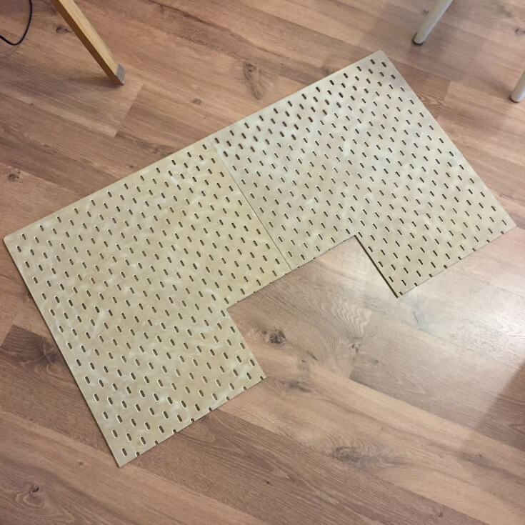 connect the pegboard together in step 2 of ikea skadis hack / grillo designs