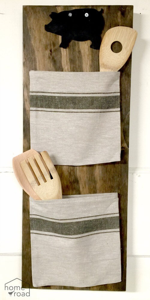 DIY Rustic Grain Sack Kitchen Organizer / IKEA Kitchen Hacks / Grillo Designs