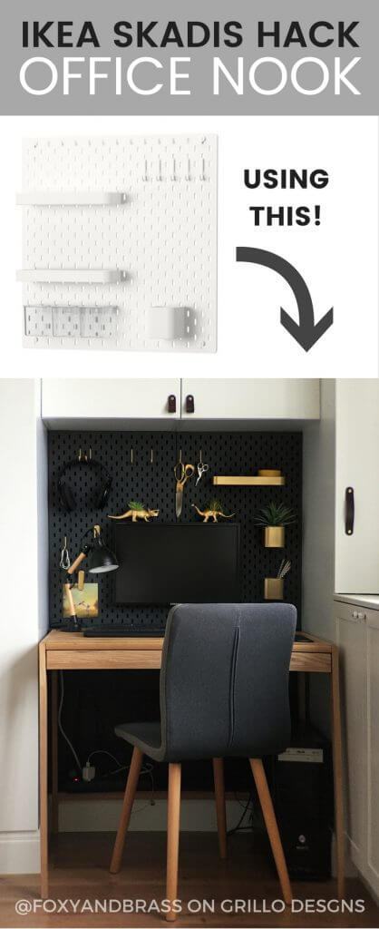 IKEA SKADIS HACK - for mini office nook. Perfect for small space living / Grillo Designs