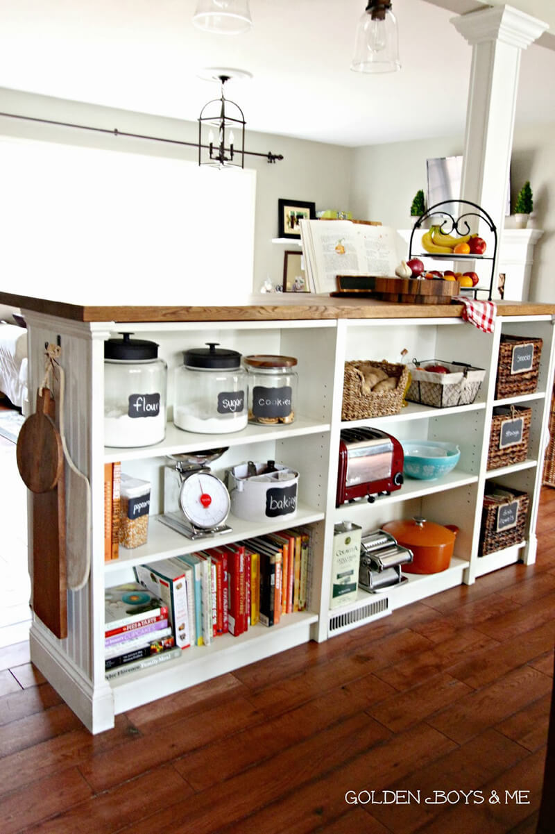 EASY KITCHEN HACKS - Turn IKEA Bookshelves into a Large Kitchen Island / Grillo Designs