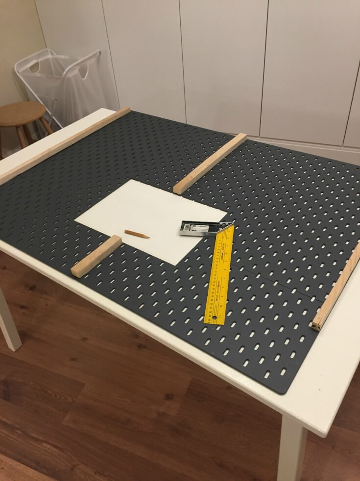 attach plywood rail in this ikea skadis hack / grillo designs