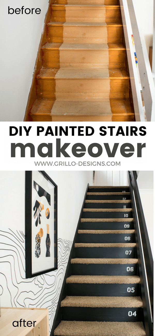 DIY stairs makeover with painted risers, stencils and carpet steps / Grillo Designs