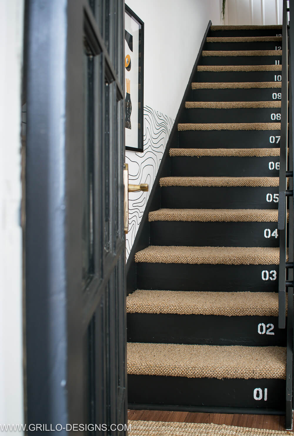 industrial style stairs makeover with stencilled numbers / Grillo Designs