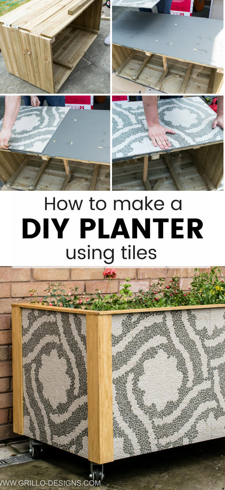 A 10 step approach to building a DIY trough planter from outdoor tiles. Perfect if you are looking to add a little glamour to your garden or porch this summer!