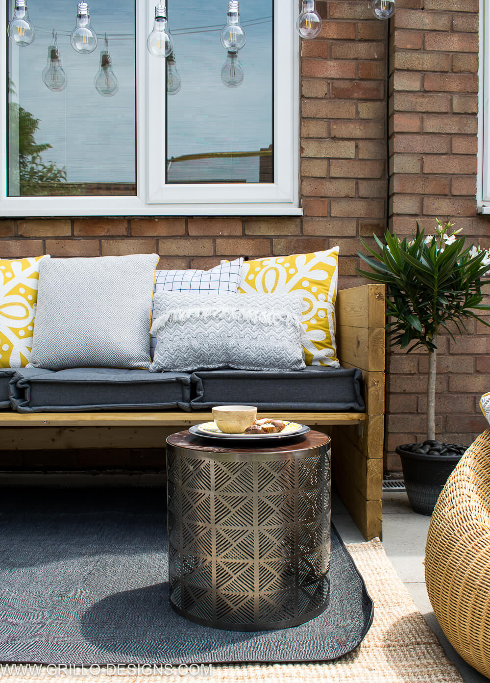 Styled outdoor sofa with sainsburys home / grillo designs