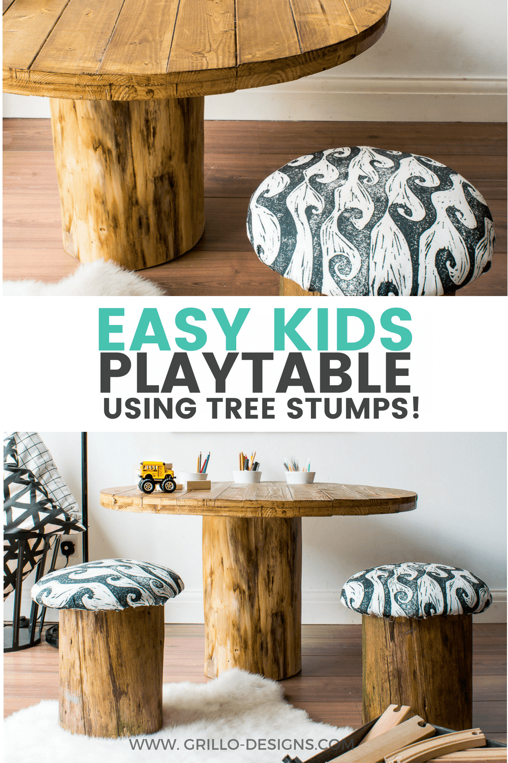 kids storage table from tree trunks / grillo designs