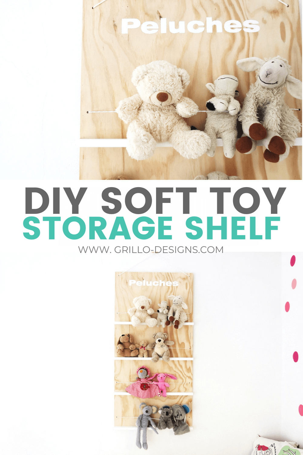 This DIY soft toy storage shelf is a practical solution to storing and displayingstuffed toys. Its simple to build - and also has a cute modern looking vibe to it /grillo designs
