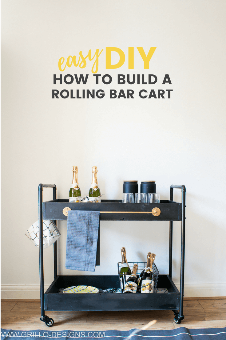 EASY DIY:  How to Build a Rolling bar cart (with Rust-Oleum)
